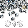 Chaton, Swarovski crystal rhinestone, Crystal Passions®, crystal blue shade, foil back, 6.14-6.32mm faceted Xirius round (1088), SS29. Sold per pkg of 12.