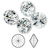 Chaton, Swarovski crystal rhinestone, Crystal Passions®, crystal clear, foil back, 14mm faceted rivoli (1122). Sold per pkg of 4.