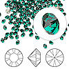 Chaton, Swarovski crystal rhinestone, Crystal Passions®, emerald, foil back, 3-3.2mm Xilion round (1028), PP24. Sold per pkg of 144 (1 gross).