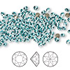 Chaton, Swarovski crystal rhinestone, Crystal Passions®, light turquoise, foil back, 3-3.2mm Xirius round (1088), PP24. Sold per pkg of 12.