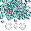 Chaton, Swarovski crystal rhinestone, Crystal Passions®, light turquoise, foil back, 4.4-4.6mm faceted Xirius round (1088), SS19. Sold per pkg of 12.