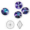 Chaton, Swarovski crystal rhinestone, crystal heliotrope, foil back, 14mm faceted rivoli (1122). Sold per pkg of 48.