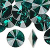 Chaton, Swarovski crystal rhinestone, emerald, foil back, 16mm faceted rivoli (1122). Sold per pkg of 144 (1 gross).