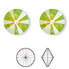 Chaton, Swarovski crystal rhinestone with third-party coating, Crystal Passions®, ultra green AB, 14mm faceted rivoli (1122). Sold per pkg of 72.