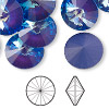 Chaton, Swarovski crystal rhinestone with third-party coating, Crystal Passions®, ultra purple AB, 16mm faceted rivoli (1122). Sold per pkg of 72.