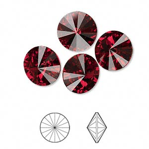 Chaton, Swarovski® crystal rhinestone, Crystal Passions®, Siam, foil back, 12mm faceted rivoli (1122). Sold per pkg of 4.