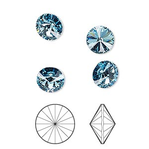 Chaton, Swarovski® crystal rhinestone, Crystal Passions®, aquamarine, foil back, 8.16-8.41mm faceted rivoli (1122), SS39. Sold per pkg of 4.