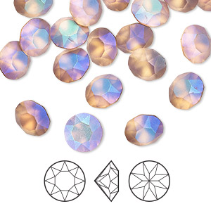 Chaton, Swarovski® crystal rhinestone with third-party coating, Crystal Passions®, pastel blush rose, foil back, 8.16-8.41mm Xirius round (1088), SS39. Sold per pkg of 4.