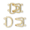 Clasp, 2-strand hook, gold-plated brass, 23x15mm. Sold per pkg of 10.
