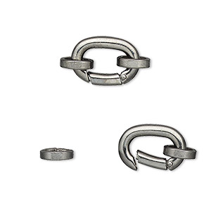 Clasp, self-closing hook, gunmetal-plated brass, 14x10mm with (2) 8x7mm oval jumprings. Sold per pkg of 2.