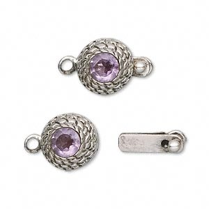 Clasp, tab, amethyst (natural) and sterling silver, 12mm beehive with 6mm faceted round. Sold individually.