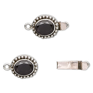 Clasp, tab, garnet (natural) and antiqued sterling silver, 15x13mm beaded oval with 10x8mm faceted oval. Sold individually.