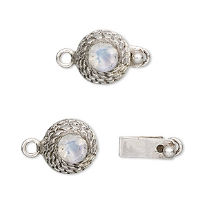Clasp, tab, rainbow moonstone (natural) and sterling silver, 12mm beehive with 6mm faceted round. Sold individually.