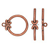 Clasp, toggle, antiqued copper-plated pewter (tin-based alloy), 24x22.5mm round with crescent design. Sold individually.