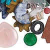 Component mix, multi-gemstone (natural / dyed / manmade) and glass, mixed colors, 10-50mm mixed shape. Sold per 1/4 pound pkg, approximately 10-75 components.
