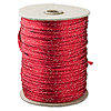 Cord, Rattail™, satin, red and metallic silver, 2mm. Sold per 432-foot spool.