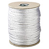 Cord, Rattail™, satin, white and metallic silver, 2mm. Sold per 432-foot spool.