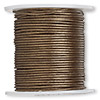 Cord, color-coated leather, metallic bronze, 0.5mm. Sold per 25-yard spool.