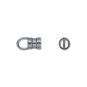 Crimp, JBB Findings, gunmetal-plated pewter (tin-based alloy), 7x6mm with loop and 4mm inside diameter. Sold per pkg of 2.