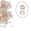 Crimp, rose gold-plated brass, 2mm round, 1.3mm inside diameter. Sold per pkg of 100.