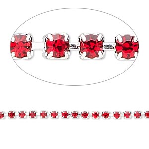 Cupchain, glass rhinestone and silver-plated brass, light red, 2mm round. Sold per pkg of 1 meter, approximately 320 cups.
