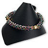 Display, bracelet, leatherette, black, 3-1/4 x 3-3/8 x 4-inch wrap-around snap cone. Sold individually.