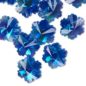 Drop, Celestial Crystal®, dark blue AB, 14x13mm faceted snowflake. Sold per pkg of 16.