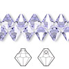 Drop, Swarovski crystal, Crystal Passions®, Provence lavender, 8mm faceted bicone pendant (6301). Sold per pkg of 144 (1 gross).