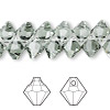 Drop, Swarovski crystal, Crystal Passions®, black diamond, 8mm faceted bicone pendant (6301). Sold per pkg of 12.