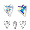 Drop, Swarovski crystal, Crystal Passions®, crystal AB, 17x14mm faceted wild heart pendant (6240). Sold per pkg of 12.