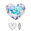 Drop, Swarovski crystal, Crystal Passions®, crystal AB, 28x23mm faceted Truly in Love Heart pendant (6264). Sold per pkg of 4.