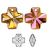 Drop, Swarovski crystal, Crystal Passions®, crystal astral pink, 20x20mm faceted cross pendant (6866). Sold individually.
