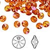 Drop, Swarovski crystal, Crystal Passions®, crystal astral pink, 6mm Xilion rivoli pendant (6428). Sold per pkg of 12.