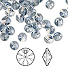 Drop, Swarovski crystal, Crystal Passions®, crystal blue shade, 6mm Xilion rivoli pendant (6428). Sold per pkg of 144 (1 gross).