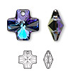 Drop, Swarovski crystal, Crystal Passions®, crystal heliotrope, 20x20mm faceted cross pendant (6866). Sold per pkg of 24.