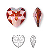Drop, Swarovski crystal, Crystal Passions®, crystal red magma, 18x17mm faceted heart pendant (6215). Sold per pkg of 24.