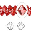 Drop, Swarovski crystal, Crystal Passions®, hyacinth, 8mm faceted bicone pendant (6301). Sold per pkg of 144 (1 gross).