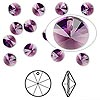 Drop, Swarovski crystal, amethyst, 6mm Xilion rivoli pendant (6428). Sold per pkg of 144 (1 gross).