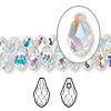 Drop, Swarovski crystal, crystal AB, 9x5mm faceted briolette pendant (6007). Sold per pkg of 288 (2 gross).