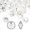 Drop, Swarovski crystal, crystal clear, 8mm Xilion rivoli pendant (6428). Sold per pkg 144 (1 gross).