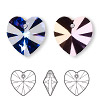 Drop, Swarovski crystal, crystal heliotrope, 18x18mm Xilion heart pendant (6228). Sold per pkg of 24.