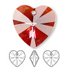 Drop, Swarovski crystal, crystal red magma, 28x28mm Xilion heart pendant (6228). Sold per pkg of 16.