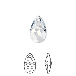 Drop, Swarovski® crystals, Crystal Passions®, crystal blue shade, 16x9mm faceted pear pendant (6106). Sold individually.