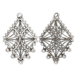 Drop, antiqued sterling silver, 26x20mm filigree diamond, 5 loops. Sold individually.