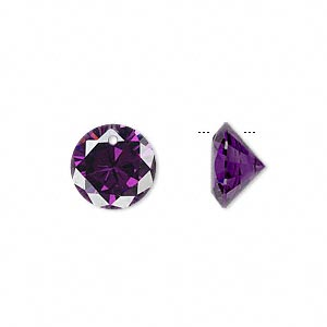 Drop, cubic zirconia, amethyst purple, 12mm hand-faceted round, Mohs hardness 8-1/2. Sold per pkg of 4.