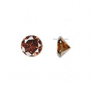 Drop, cubic zirconia, brown, 10mm hand-faceted round, Mohs hardness 8-1/2. Sold per pkg of 2.