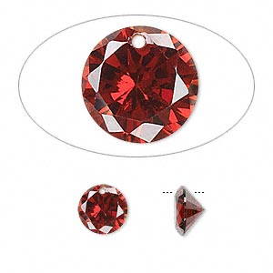 Drop, cubic zirconia, garnet red, 8mm hand-faceted round, Mohs hardness 8-1/2. Sold per pkg of 8.