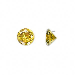 Drop, cubic zirconia, gold, 10mm hand-faceted round, Mohs hardness 8-1/2. Sold per pkg of 4.