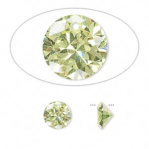 Drop, cubic zirconia, peridot green, 8mm hand-faceted round, Mohs hardness 8-1/2. Sold per pkg of 4.
