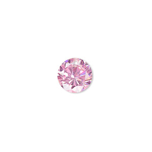 Drop, cubic zirconia, pink, 10mm hand-faceted round, Mohs hardness 8-1/2. Sold per pkg of 4.